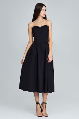 Čierne midišaty s korzetovým topom a širokou nariasenou sukňou model 116338 fl