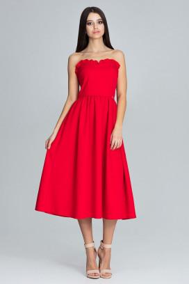 Červené midišaty s korzetovým topom a širokou nariasenou sukňou model 116340 fl