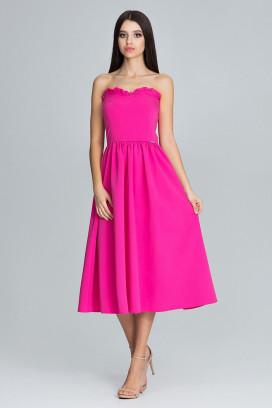 Ružové midišaty s korzetovým topom a širokou nariasenou sukňou model 116341 fl