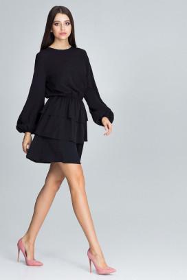 Krátke čierne šaty s volánovou sukňou a dlhým rukávom model 116343 fl