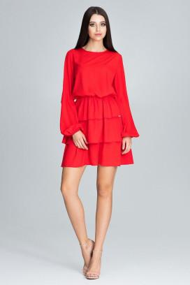 Krátke červené šaty s volánovou sukňou a dlhým rukávom model 116345 fl