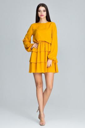 Krátke žlté šaty s volánovou sukňou a dlhým rukávom model 116346 fl