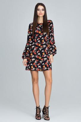 Krátke čierne šaty s kvetinovou potlačou a dlhým rukávom model 116349 fl