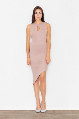 Krátke béžové púzdrové šaty s asymetrickou sukňou model 111504 fl