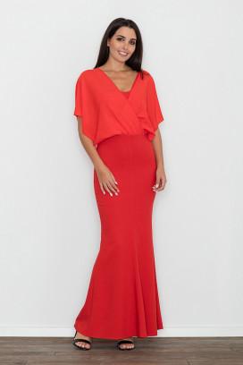 Dlhé červené spoločenské šaty s voľným tylovým model 111036 fl