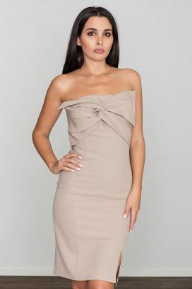 Krátke béžové púzdrové šaty s rozparkom model 111050 fl