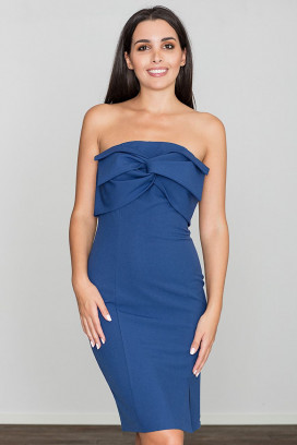 Krátke modré púzdrové šaty s rozparkom model 111052 fl