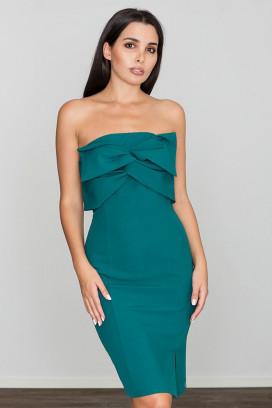 Krátke zelené púzdrové šaty s rozparkom model 111053 fl