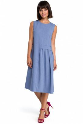 Modré midišaty s nariasenou sukňou bez rukávov model 118592 BE