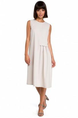 Smotanové midišaty s nariasenou sukňou bez rukávov model 118594 BE