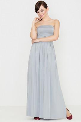 Dlhé šedé maxišaty s nariasenou sukňou a odhalenými ramenami model 119352 lf