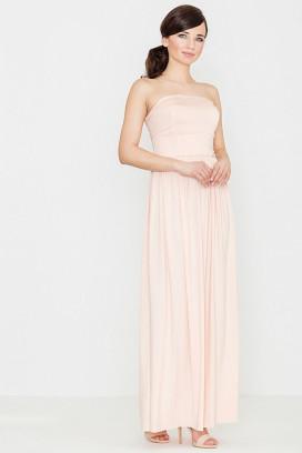 Dlhé ružové maxišaty s nariasenou sukňou a odhalenými ramenami model 119353 lf
