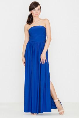 Dlhé modré maxišaty s nariasenou sukňou a odhalenými ramenami model 119354 lf