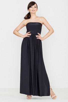 Dlhé čierne maxišaty s nariasenou sukňou a odhalenými ramenami model 119356 lf