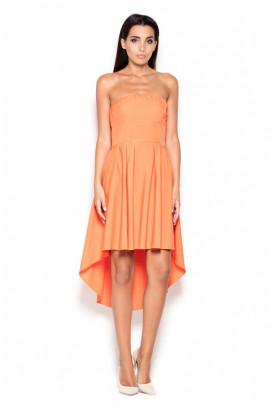 Krátke oranžové korzetové šaty s nariasenou asymetrickou sukňou model 119387 lf