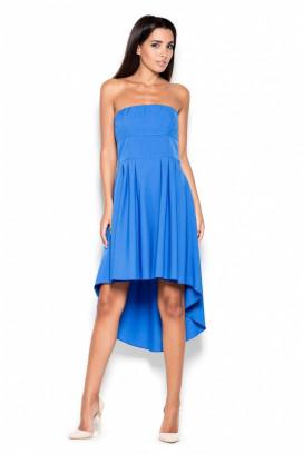Krátke modré korzetové šaty s nariasenou asymetrickou sukňou model 119388 lf