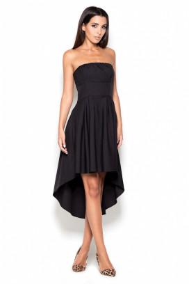Krátke čierne korzetové šaty s nariasenou asymetrickou sukňou model 119389 lf