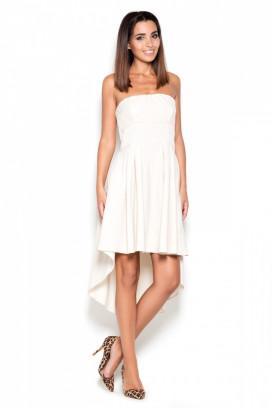 Krátke biele korzetové šaty s nariasenou asymetrickou model 119390 lf