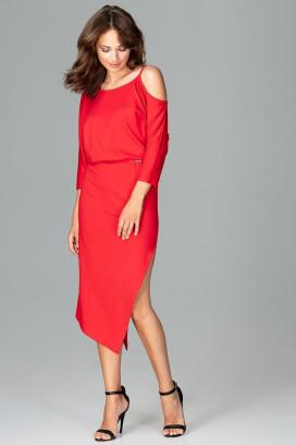 Červené úzke midišaty s odhalenými ramenami model 120299 lf