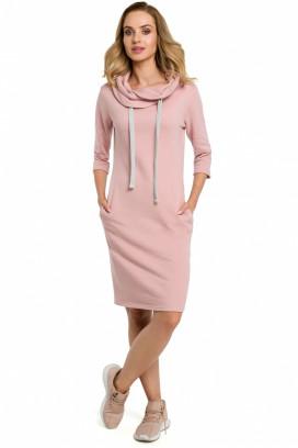 Krátke ružové športové šaty s vreckami a kapucňou model 120613 me