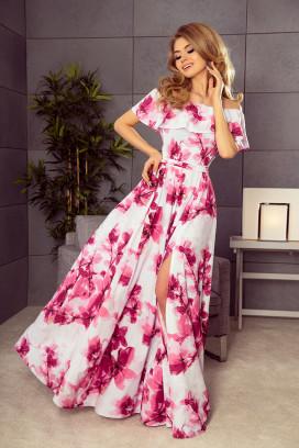 194-2 Dlhé bielo-ružové kvietkované maxišaty so širokou sukňou s rozparkom a odhalenými ramenami
