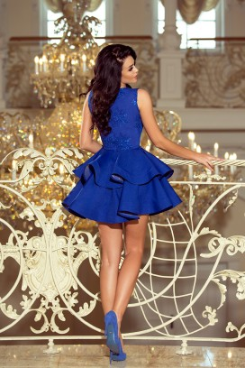 200-7 Krátke spoločenské modré volánové šaty s čipkovým vrchom