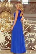 211-3 Dlhé modré plesové šaty s nariasenou širokou sukňou a čipkovým vrchom bez rukávov