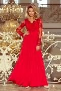 213-3 Dlhé červené plesové šaty s nariasenou širokou sukňou a čipkovým vrchom s dlhými rukávmi