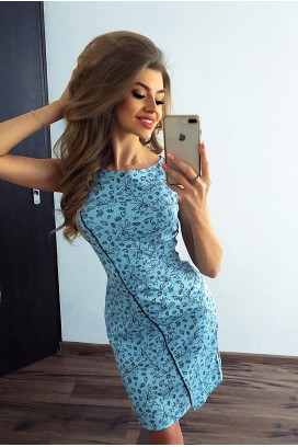 Krátke modré šaty s kvietkovanou potlačou MM 004-7