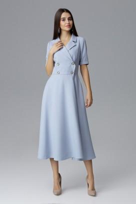 Modré midišaty s prekladaným dekoltom a širokou kruhovou sukňou model 126018 fl