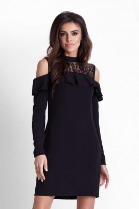 Krátke čierne úzke šaty s čipkou a odhalenými ramenami model 127300 IN