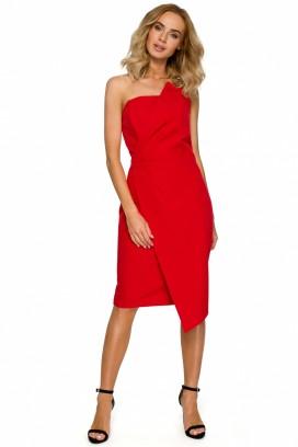 Červené púzdrové šaty s prekladanou sukňou s odhalenými ramenami model 125331 ME