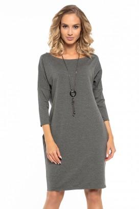 Krátke šedé voľné šaty s vreckami a 3/4 rukávom model 121265 ta