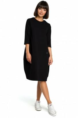 Krátke čierne voľné šaty s vreckami a 3/4 rukávom model 121647 BE