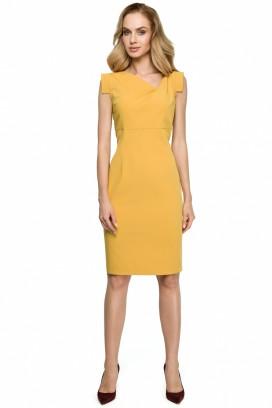 Krátke žlté púzdrové šaty s asymetrickým výstrihom model 121933 se