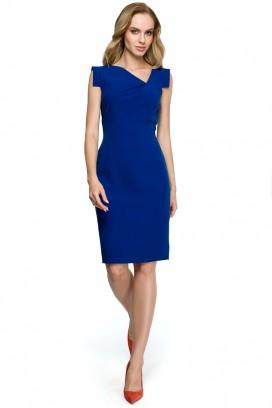 Krátke modré púzdrové šaty s asymetrickým výstrihom model 121934 se