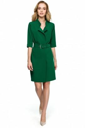Krátke zelené púzdrové šaty s opaskom a 3/4 rukávom model 121936 se