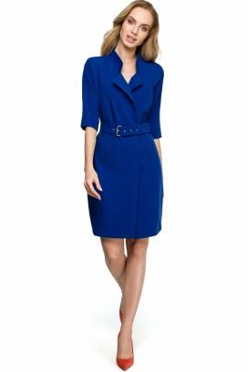 Krátke modré púzdrové šaty s opaskom a 3/4 rukávom model 121938 se