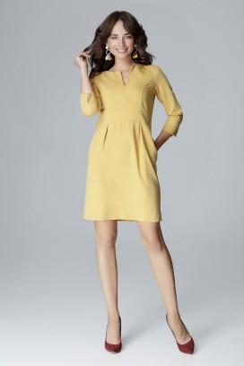 Krátke žlté púzdrové šaty s 3/4 rukávom model 123549 lf