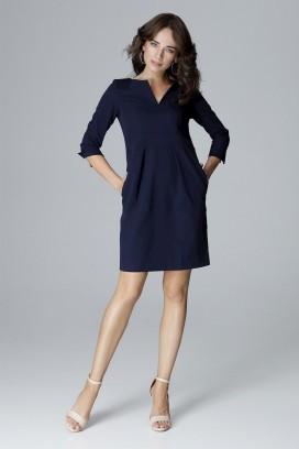 Krátke tmavomodré púzdrové šaty s 3/4 rukávom model 123551 lf