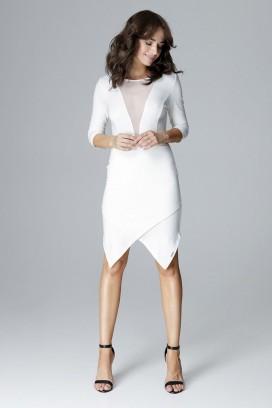 Krátke biele púzdrové koktejlové šaty s tylovým dekoltom a asymetrickou sukňou model 123814 lf
