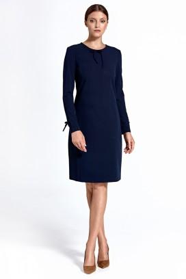 Krátke tmavomodré púzdrové šaty s dlhými rukávmi a mašličkami model model 124253 ctt