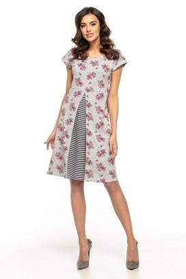 Krátke šedé kvietkované šaty s prestrihnutím model 127942 ta