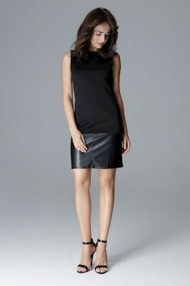 Krátke čierne púzdrové šaty bez rukávov model 128513 lf