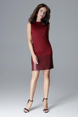 Krátke bordové púzdrové šaty bez rukávov model 128515 lf