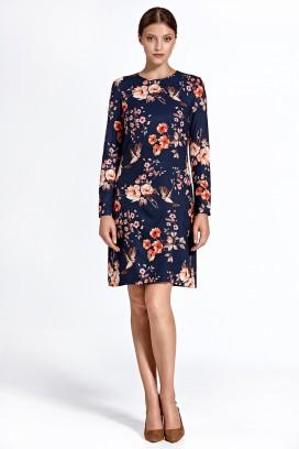 Krátke tmavomodré kvetinkové púzdrové šaty s dlhým rukávom model 128453 - ctt