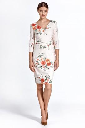 Krátke biele kvietkované púzdrové šaty s 3/4 rukávom model 128460 - ctt