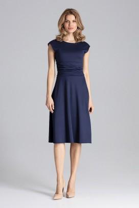 Tmavomodré midišaty s kruhovou sukňou a krátkymi rukávmi model 129765 fl