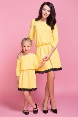 MMM1-6 Žlté šaty s čipkou - mama