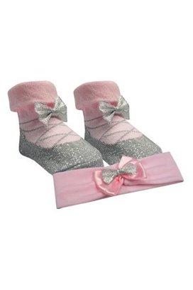 SKLADOM Ponožky s čelenkou - ružová/strieborná